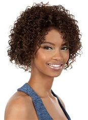 Trendy Short Curly Brown No Bang African American Lace Wigs for Women 12 Inch