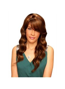 Gorgeous Long Wavy Brown Side Bang African American Wigs for Women 22