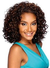 Graceful Short Curly Brown No Bang African American Lace Wigs for Women 12 Inch