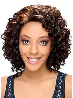 Pretty Medium Wavy Brown No Bang African American Lace Wigs for Women 14 Inch