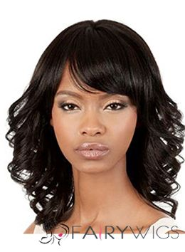 Attractive Medium Wavy Black Side Bang African American Wigs for Women 14 Inch