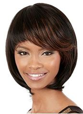 Fantastic Short Wavy Brown Side Bang African American Wigs for Women 12 Inch