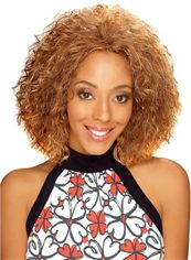 Grand Short Curly Blonde No Bang African American Lace Wigs for Women 12 Inch