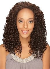 Glamorous Medium Curly Brown No Bang African American Lace Wigs for Women 18 Inch
