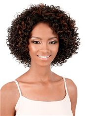 Concise Short Curly Sepia No Bang African American Lace Wigs for