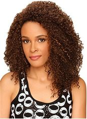Stunning Medium Curly Brown No Bang African American Lace Wigs for