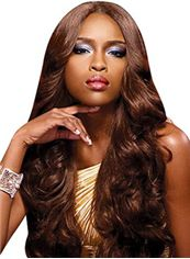 Shining Long Wavy Brown No Bang African American Lace Wigs for Women 24 Inch