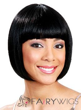 Wonderful Short Straight Black Full Bang African American Wigs for Women 10 Inch