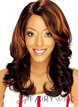 Sweet Medium Wavy Brown No Bang African American Lace Wigs for Women 16 Inch