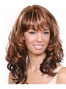 Afro American Wigs Medium Wavy Brown Full Bang African American Wigs