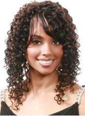 Afro American Medium Curly Brown Side Bang African American Wigs for Women 16 Inch