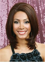 Wig Online Medium Wavy Brown No Bang African American Lace Wigs for