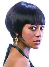 Sale Wigs Short Straight Black Full Bang African American Wigs for Women 10 Inch