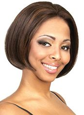 Vogue Wig Short Straight Brown No Bang African American Lace Wigs for