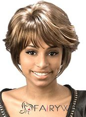 Online Wigs Short Wavy Gray Side Bang African American Wigs for Women 10 Inch