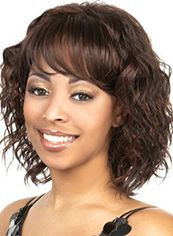 Quality Wigs Short Wavy Brown Full Bang African American Wigs for Women 12 Inch