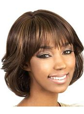 Capless Short Wavy Brown Full Bang African American Wigs for Women 12