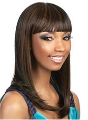 Lastest Trend Medium Straight Brown Full Bang African American Wigs for Women 16 Inch