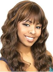 Beautiful Long Wavy Brown Full Bang African American Wigs for Women