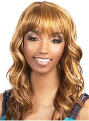 New Medium Wavy Blonde Full Bang African American Wigs for Women 18