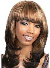 New Glamourous Medium Wavy Brown Full Bang African American Wigs for