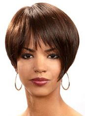 Stylish Short Straight Brown Full Bang African American Wigs for Women 8 Inch
