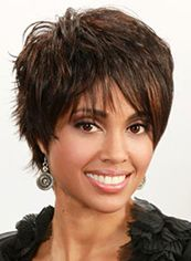 Impressive Short Straight Brown Side Bang African American Lace Wigs