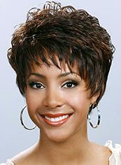 New Impressive Short Wavy Brown Side Bang African American Lace Wigs