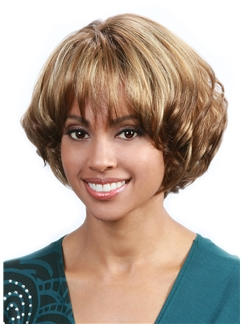 Super Smooth Short Wavy Brown Full Bang African American Wigs for