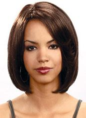 2013 Cool Short Wavy Brown No Bang African American Lace Wigs for