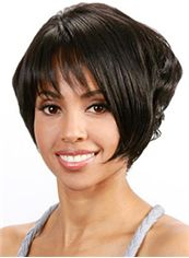 Short Wavy Black Side Bang African American Wigs for Women 10 Inch