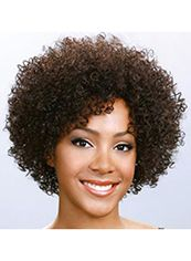 New Fashion Short Curly Brown Side Bang African American Lace Wigs