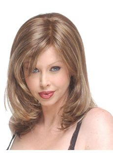Perfect Medium Wavy Blonde Side Bang African American Lace Wigs for