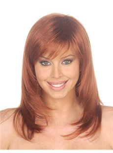 Stylish Medium Wavy Brown Side Bang African American Wigs for Women 16 Inch