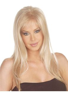 2015 Cool Long Straight Blonde Side Bang African American Wigs for