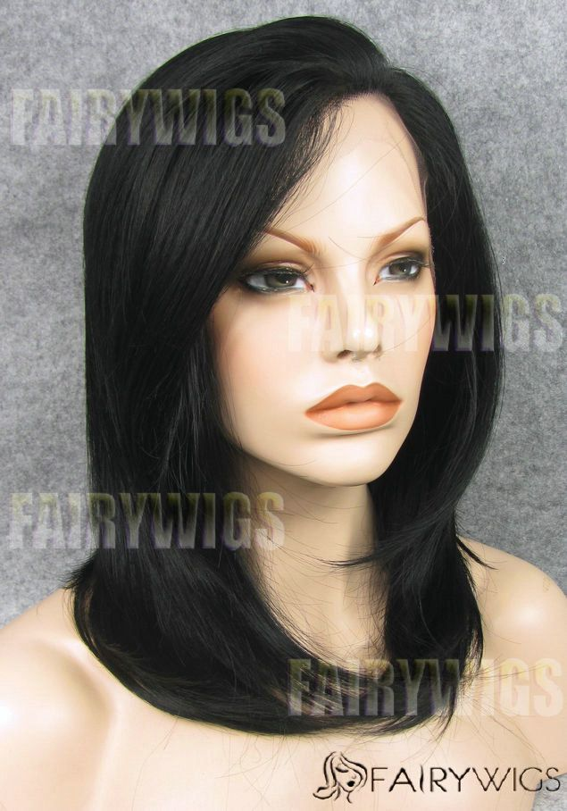 Multi-function Medium Black Female Straight Lace Front Hair Wig 16 Inch