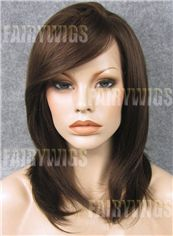 2015 Cool Medium Brown Female Wavy Lace Front Hair Wig 16 Inch