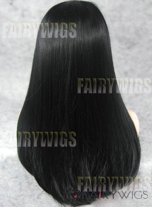 Graceful Long Black Female Straight Lace Front Hair Wig 22 Inch