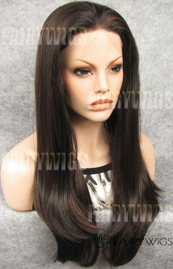 Multi-function Long Sepia Female Straight Lace Front Hair Wig