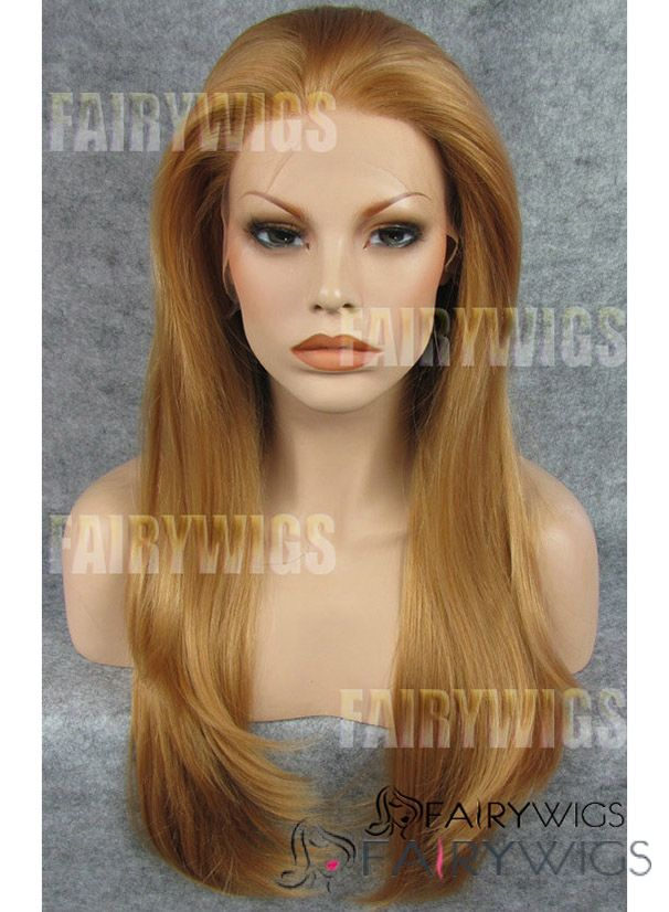 European Style Medium Brown Female Straight Lace Front Hair Wig 18 Inch