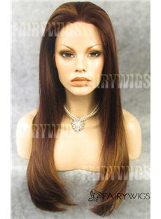 Exquisite Long Brown Female Straight Lace Front Hair Wig 20 Inch