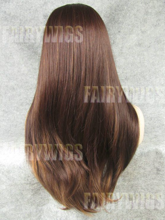 Glamorous Long Brown Female Straight Lace Front Hair Wig 20 Inch