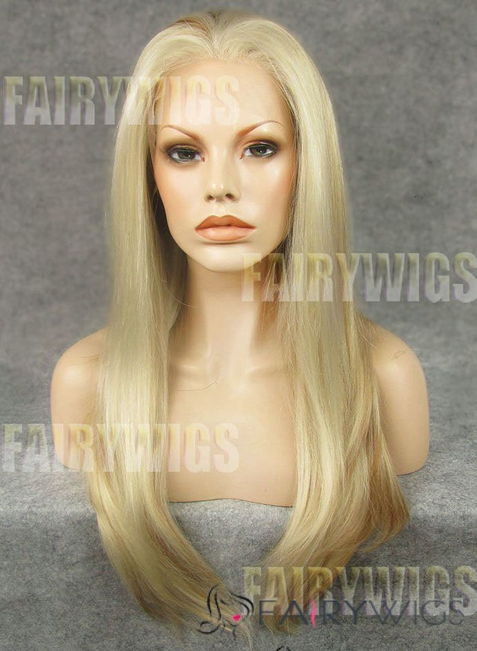 Up-to-date Long Blonde Female Straight Lace Front Hair Wig 20 Inch