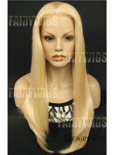 Faddish Long Blonde Female Straight Lace Front Hair Wig 20 Inch