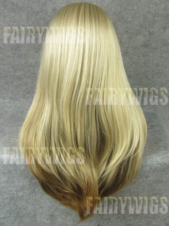 Fashion Long Blonde Female Straight Lace Front Hair Wig 22 Inch