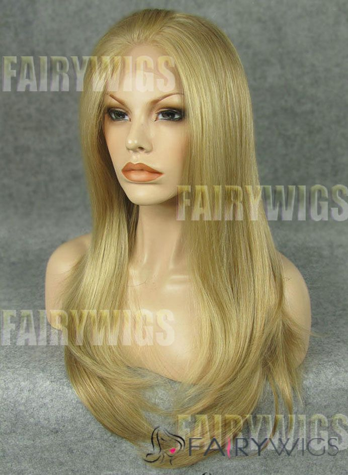 Soft Long Blonde Female Straight Lace Front Hair Wig 22 Inch