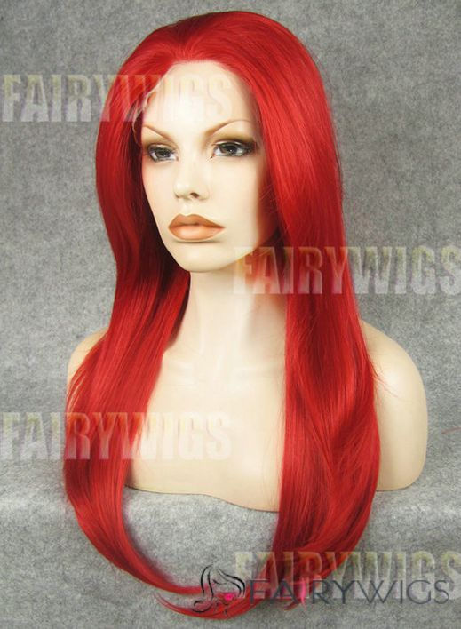 Soft Long Red Female Straight Lace Front Hair Wig 20 Inch