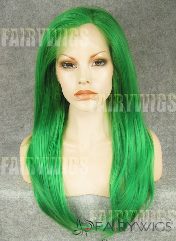 cute long colored female straight lace front hair wig 20 inch - Colored Wig