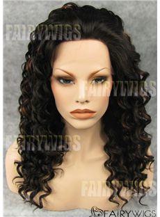 Soft Medium Black Female Wavy Lace Front Hair Wig 16 Inch