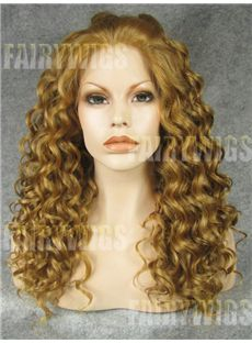 Prevailing Medium Blonde Female Wavy Lace Front Hair Wig 16 Inch
